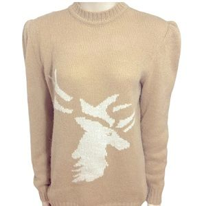 Vintage Valentino 80s Shoulder Pads Elk Sweater